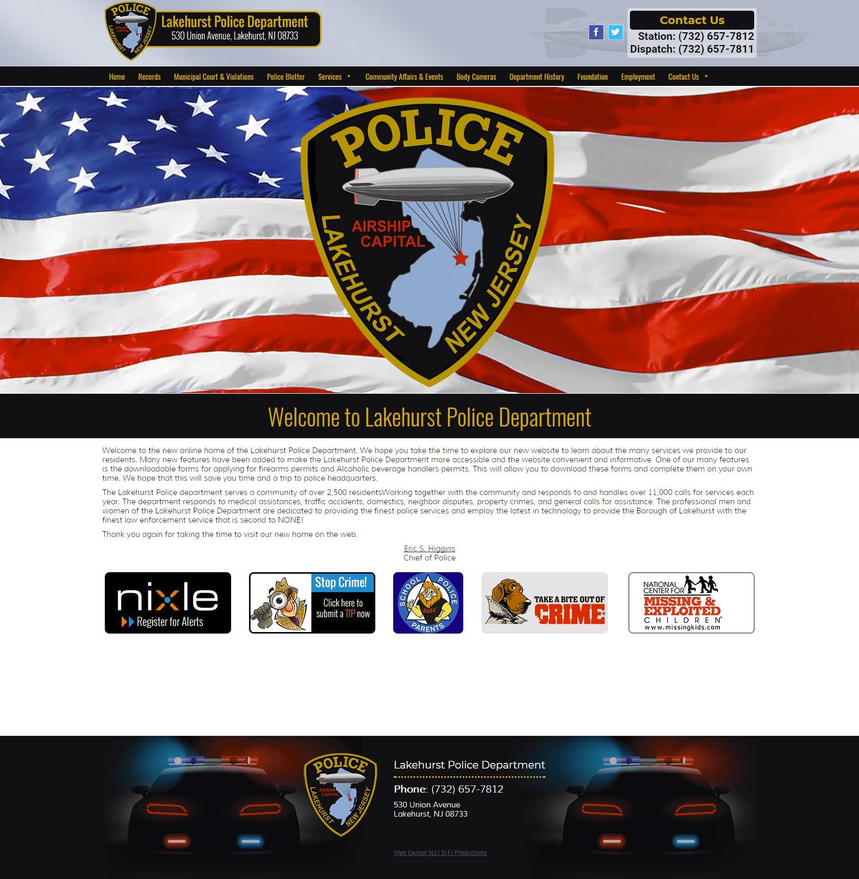 NJ Web Design Lakehurst Police Department